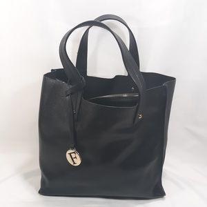 FURLA Black Muse Saffiano Small Leather Tote Bag